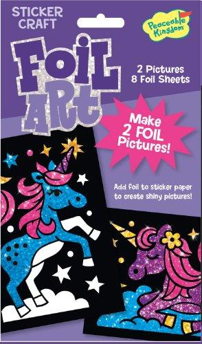 Peaceable Kingdom 05154 - Unicorns Foil Art - Sticker Craft, 2 Bilder und 8 Glitzer-Folien, Thema Einhörner