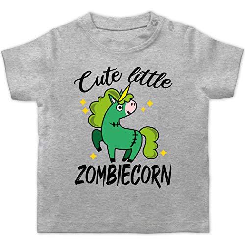 Halloween Baby - Cute Little Zombiecorn - schwarz - 3/6 Monate - Grau meliert - Zombies - BZ02 - Baby T-Shirt Kurzarm