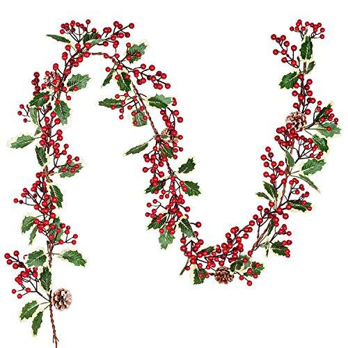 YQing 213cm Beerengirlande Stechpalme Deko, Girlanden Weihnachten mit Tannenzapfen und grünen Blättern, Künstliche Rote Beerengirlande für Urlaub, Kamin, Treppe, Tischdekoration