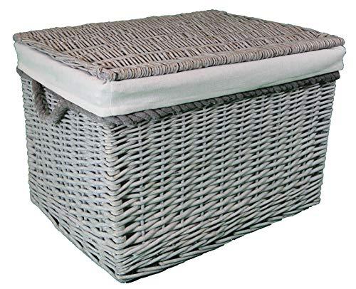 cestas grandes de mimbre y ratán. Forro lavable. Elegante solución de almacenamiento, 85 ltr forrado gris