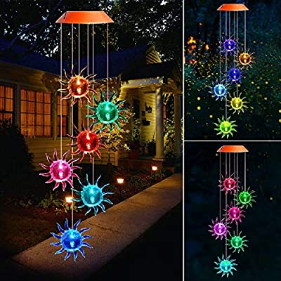 BINWO Wind Chime, Solar Lights Chimes, Solar Wind Chime Outdoor Garden Decor, Yard Decorations Solar Light Mobile, (Gifts for Mom/Grandma, Birthday Bifts for Mom)