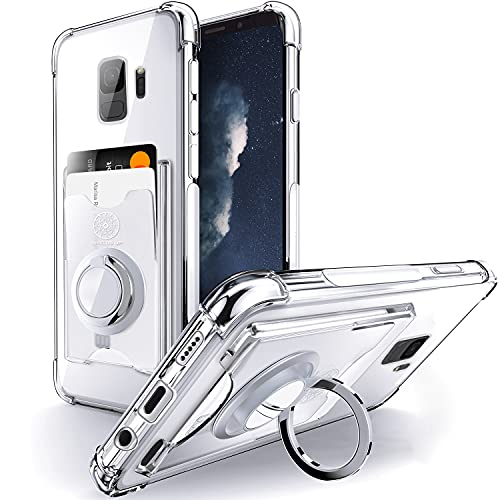 Shields Up Funda Transparente para Galaxy S9Plus,Funda Samsung S9Plus con Soporte de Anillo Giratorio de 360 Grados y Tarjetero,Estuche Transparente de TPU a Prueba de Golpes-Transparente
