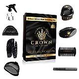 Crown Box-Men's Waver Grooming Kit - 9 in 1 Kit Includes: 2 Silky Blue / Black Durags, Medium Hard Wave Brush, Soft Bristle Crown Beard Brush, Wood Comb, Spray Bottle, 2 Silky / Stocking Wave Cap, 360 Wave Kit for Men