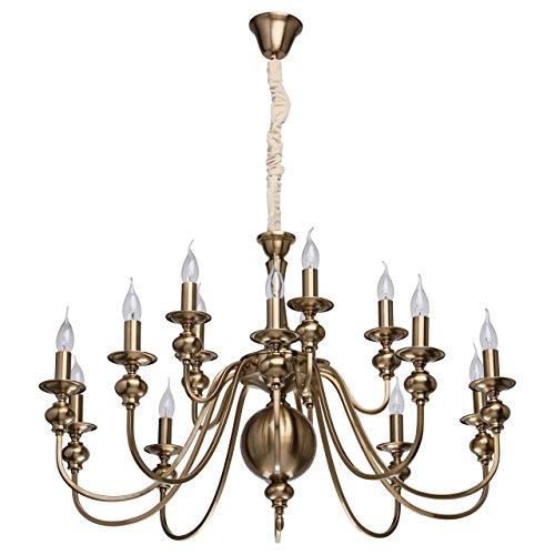 MW-Light 614010715 Großer Kerzen Kronleuchter Antik 15 Flammig Messingfarbiges Metall 15 x 60W E14