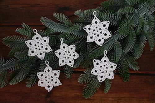 Weihnachtssterne häkeln, Set mit 5 Ornamenten