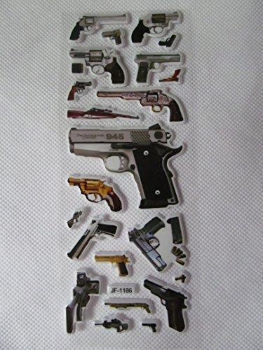 1 x petite feuille de Militaire autocollants : armes, revolver, pistolet, glock, aigle du désert, pour enfants, filles, garçons, artisanat, albums de découpures, fabrication de carte, cadeau sacs de graisse-catz-copie-catz