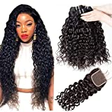 Remy Human Hair Bundles with Closure Yavida Mink Brazilian Water Wave Bundles Curly Weave Wet and Wavy Bundles 14 16 18+12