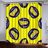 bdbdff Dormitorio 3D Habitación Infantil Cortinas Labios,100% Poliéster Decoracion De Ventanas para Sala De Estar De Dormitorio Cortinas Opacas 182Wx214H Cm