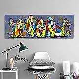 YuanMinglu Arte de la Pared Lienzo Imagen Animal Pintura Sala de Estar decoración de la Sala Cuatro Colores Cachorro Pintura sin Marco 45x135 cm