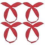 FRCOLOR 4 Stück Polka Dot Haarband Rotes Bandana Stirnband Frauen Rote Schleife Stirnband Schöne Kopfbedeckung Stirnband Haarschmuck für Mädchen