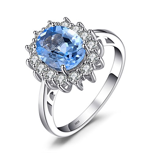 JewelryPalace Anillo de Compromiso Princesa Diana William Kate Middleton 2.3ct Halo Topacio Azul Genuinn Plata de ley 925 Tamaño 19