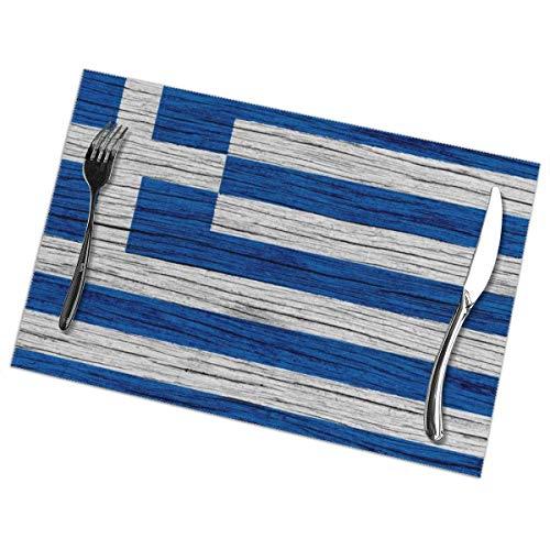 Faithe Keppel Griechenland Holz Textur Griechische Flagge 6 Stück Set Tischsets Pc Home Tisch Tischset Patio Feiertage Dekorationen Dekor