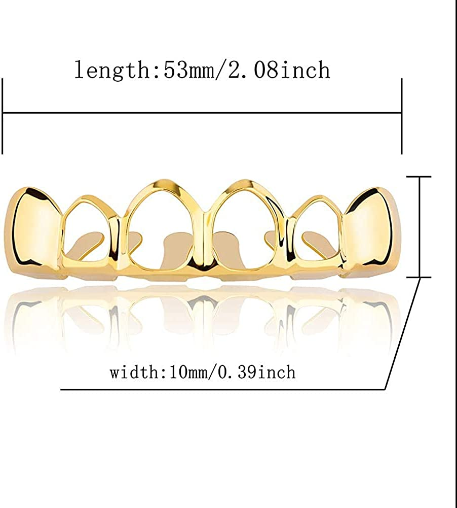 canjoyn New Custom Fit 18K Gold Plated Vampire Four Open Face Gold Grillz Set