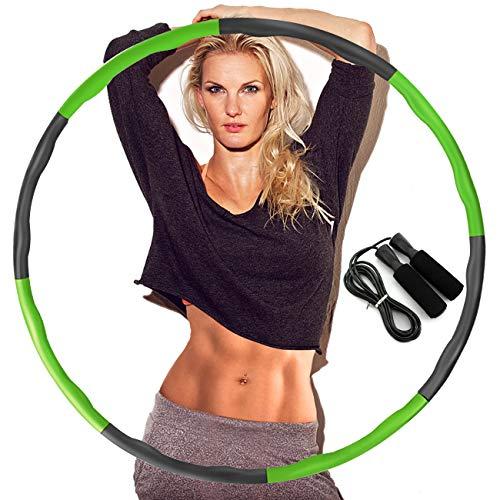 DUTISON Hula Hoop zur Gewichtsreduktion,Reifen mit Schaumstoff Gewichten Einstellbar Breit 48–88 cm beschwerter Hula-Hoop-Reifen für Fitness mit Springseil -Grün und Grau