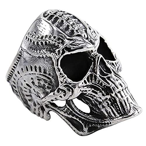 Anillo de cráneo gótico para Hombres Charm Dorado Plata Color Buda Letra de Buda Sola Anillo Hiphop Rock Viking Ring,O,9