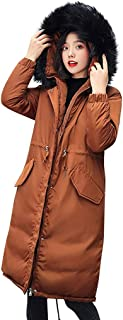 SFE Women Coats Winter The Lightweight Padding Faux Fur Trim Thickened Warm Parka Detachable Hood Jacket with Pocket