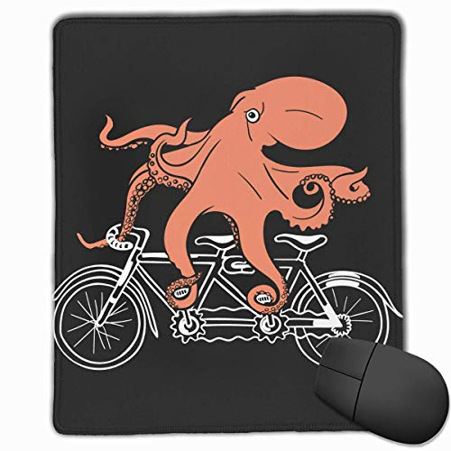Funny Octopus Bike Office Rectangle Non-Slip Rubber Mouse Pad Comfortable Gaming Mouse Pad for Laptop Displays Tablet Keyboard