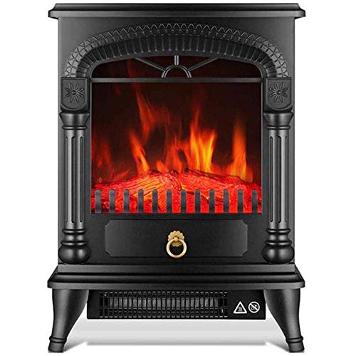Nfudishpu Portable Electric Stove Heater Fireplace Electric Fire 1800W With Wood Stove 3D Flame Effect And 2 Heat Settings - Portable Freestanding Space Heater A. For indoor and outdoor