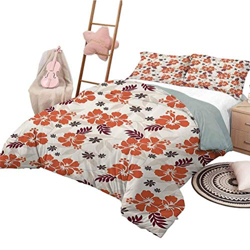 Hawaiian Decorations Collection Bedding-Sets Duvet Cover Holiday Beach Romance Resort Warm Colors Leaf Trendy Modern Illustration Image Decorative 3 Piece Bedding Set Twin Size