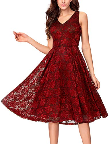 Noctflos Women's Red Lace Midi Cocktail Evening Dress for Wedding Guest Mother of The Bride