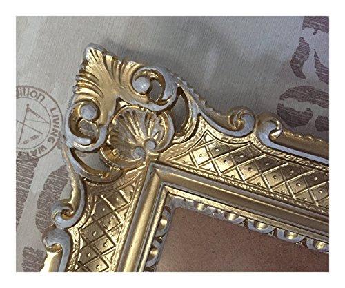 Lnxp Bilderrahmen Gold-Weiß 90x70 cm ohne Glas Hochzeitsrahmen Selfie Fotorahmen Foto Requisiten Rahmen Antik Barock Rokoko Repro Shabby Chic Renaissance JUGENDSTIL Retro Design LUXURIÖS