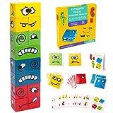 Puzzle de Madera, Splaks Montessori Juguete de Rompecabezas de Expresión para Niños Mayores de 3 Años, Juego de Cubo de Cambio de Cara, Entrenamiento de Pensamiento Juguetes Educativos