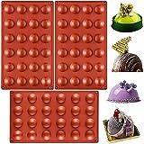 Molde de Silicona, NALCY 24 cavidades con Forma Semi esférica, Color Terracota Herramienta para Hornear para Sus postres de Chocolate, Bombas de Helado, Mini Tarta de té - 3 Piezas