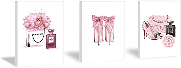 Fashion Women Art Print Pink High Heels Flowers Painting Set of 3 Pieces (11.8x15.6inch)Canvas Vogue Perfume Poster With F...