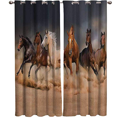Horse Country Khaki Decor 100% Blackout Window Curtain Panel Masculine Running Horses Southwestern Gifts for Equestrians Farm for Bedroom Living Room Kitchen Bathroom Each Panel 27.5 by 39 Inch