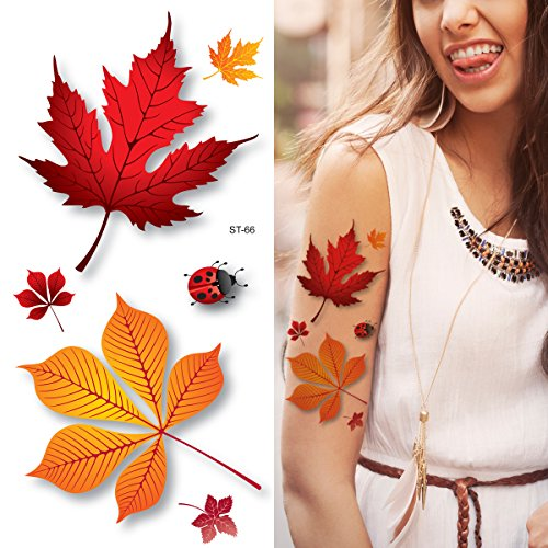 Supperb Flower & Autumn Leaves Temporary Tattoos Gorgeous Color Tattoos (3d Autumn Leaves)