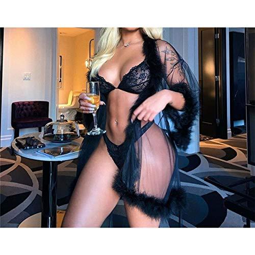 JINSUO Yiyuntian Mujeres Sexy lencería Mesh Sheer Ve a través de la Pluma de la Funda Larga Vestido de la Pluma Robe Vestido de Noche (Color : Black, Size : Large)