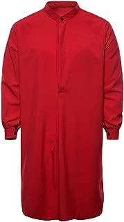 Mens Muslim Thobe Islamic Arabic Clothing Long Sleeve Shirt Top