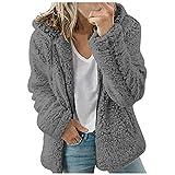 HHWY Teddy, giacca in pile da donna, tinta unita, con chiusura lampo, con cappuccio, giacca invernale da donna, corta, in pile, con tasche, grigio scuro, XXXL