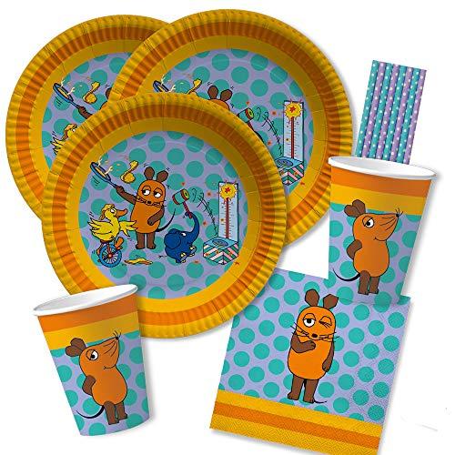 spielum 68-teiliges Party-Set - Die Maus - Teller Becher Servietten Trinkhalme für 16 Kinder