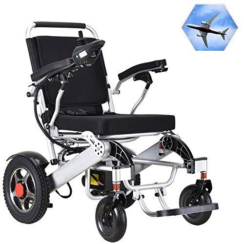 FJNS Ultraleichter Faltbarer Elektrischer Rollstuhl mit einem Wenderadius und 4 Stoßdämpfern beträgt die Last 150 kg für ältere und behinderte Menschen Leichter elektrischer Elektrorollstuhl