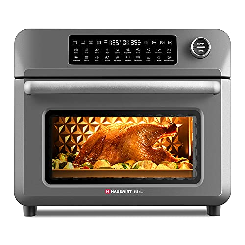 HAUSWIRT K5pro Air Fryer Toaster Combo 25L 20 Functions Large Countertop Oven, Rotisserie & Dehydrator with 1600W, 45 Recipes & 7 Accessories Included, Gray-black