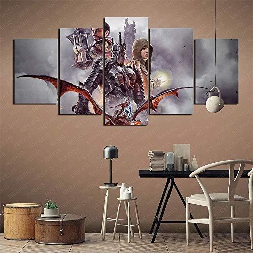 5 piezas cuadro en lienzo Cuadro compuesto por 5 lienzos impresos en HD, utilizados para decoración del hogar y carteles La sombra de la Tierra Media de Gears of War (150x80cm sin marco)