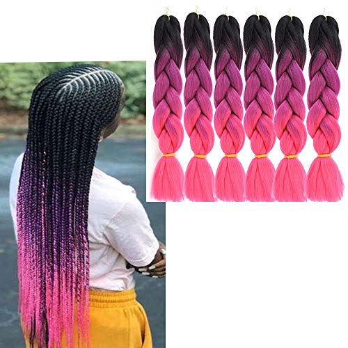 6 Packs Ali Show Hair Jumbo Flechten Hair Extensions Colorful Kunsthaar Kanekalon Haar für Heimwerker Crochet Box Zöpfe 100 g/pcs 60 cm (ombre purple rose)