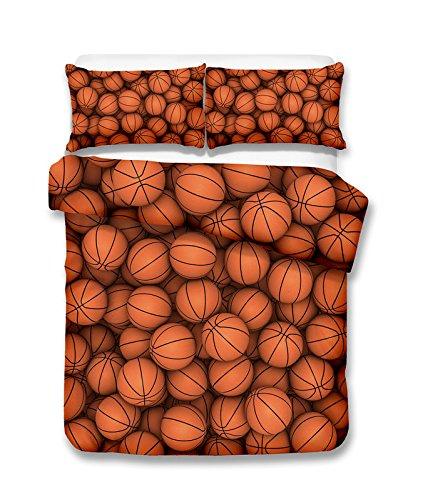 Juego de ropa de cama de baloncesto 3D con impresión de funda de edredón y sábana de cama realista # 2 (individual)