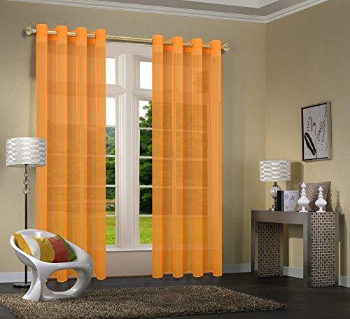 Uni  -20332CN- 2er-Pack Orange Vorhang Transparent Gardinen Set Wohnzimmer Voile Vorhang Ösenvorhang HxB 245x140 cm mit Bleibandabschluß Orange