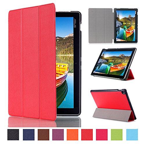 WindTeco ASUS ZenPad 10 Hülle, Ultra Dünn Leder Schutzhülle mit Auto Aufwachen/Schlaf Funktion für ASUS Zenpad 10 Z301MFL / Z2301ML / Z300M / Z300C / Z300CG / Z300CL Tablet, Rot