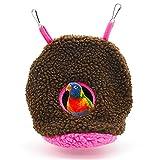 XunHe Hamaca para loros, nido de peluche, nido de pájaros, caseta para mascotas, cálida para invierno, jaula para pájaros (marrón)