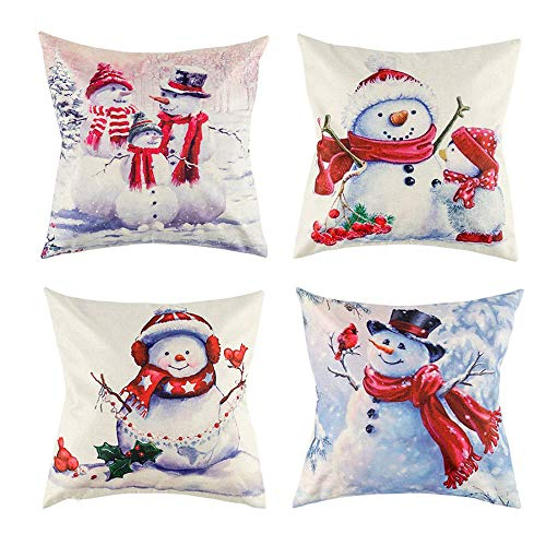 CupaPlay 4 PCS Christmas Throw Pillow Cover - Christmas Snowman Holiday Decor Pillowcase Cushion Cover Square Decorative Pillow Cover for Sofa Couch Bed and Car - 18'X18' Size (Without Filler)