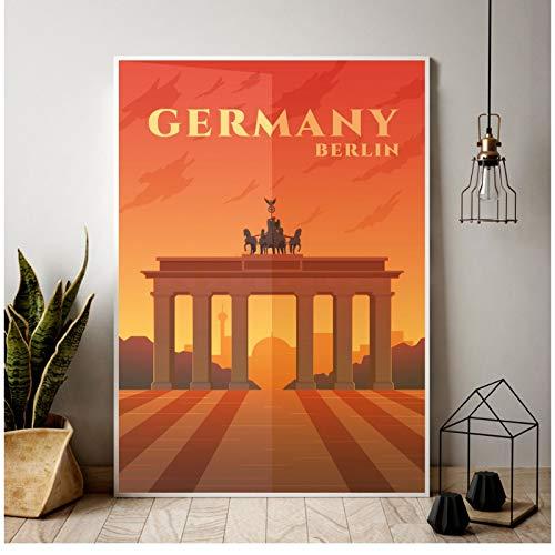 Berlin City map Landschap Canvas Poster Canvas thuis woonkamer slaapkamer decoratie foto muur-50x70cm Geen Frame