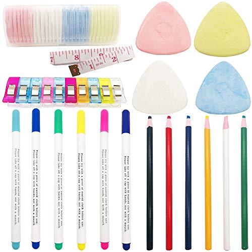 53 piezas de herramientas de costura, 30 Tizas de Sastre de Colores, 6 Lapiz Soluble en Agua, 6 Lápiz Borrable de Agua Soluble, 10 clips de costura con cinta métrica para manualidades de costura