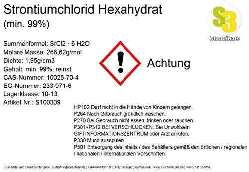 S3 Chemicals Strontiumchlorid Hexahydrat (min. 99%) Gebindegröße 1kg