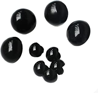 TOPWEL 50pcs Black Plastic Mushroom Beads Safety Solid Eyes for Sewing Crafting Eyes Buttons for Bear Doll Etc (12.5mm)