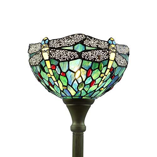 Tokira Tiffany Lámpara de Pie Para Salón Libélula Azul, 12 Pulgadas Lámpara de Pie de Lectura Retro, Europeo Vidrio Multicolor Luz de Noche, Suministrado con Bombilla LED