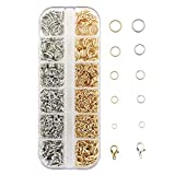sharprepublic Kit de Fourniture de Bijoux Fabrication de Bijoux Outillage de Bijouterie Fermoir Mousqueton Anneaux Ouverts - doré, Blanc