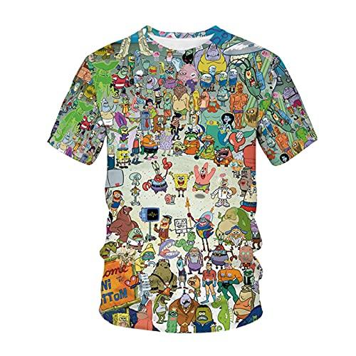 Spongebob - Camiseta de manga corta con estampado 3D para verano, informal, camiseta de manga corta I XXX-Large